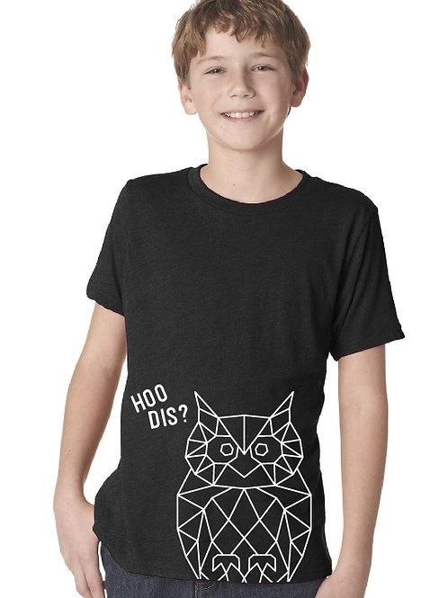 Noreaster Kids owl tee front view in vintage black