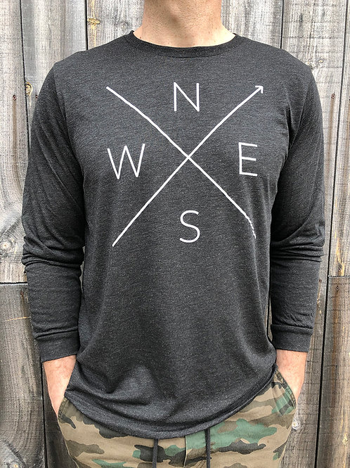 Mens long sleeve tee shirt in heather charcoal front view