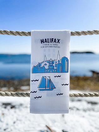 Far Far Away Shop Halifax Tea Towel front view in Navy