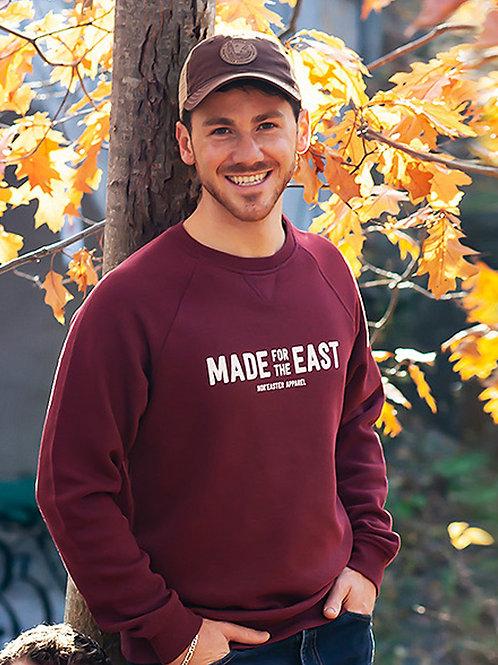 Vintage Crew Neck Fleece Sweater in heather Burgundy front view