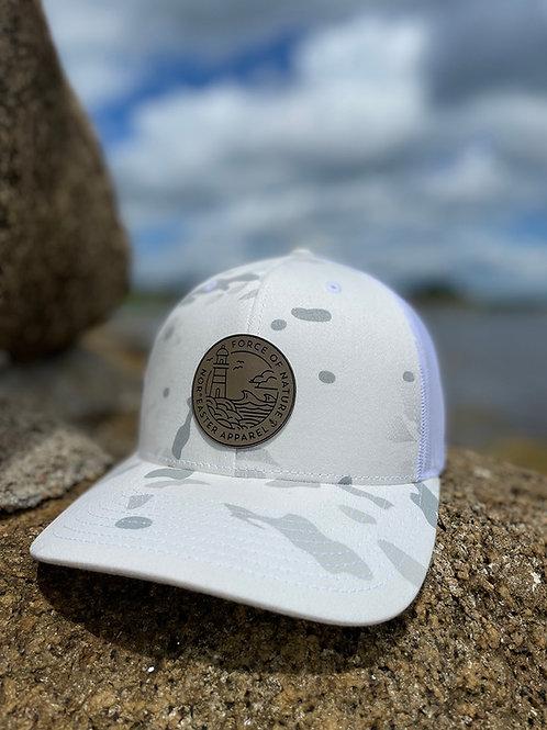 Nor'easter Apparel white Camo retro trucker hat front view