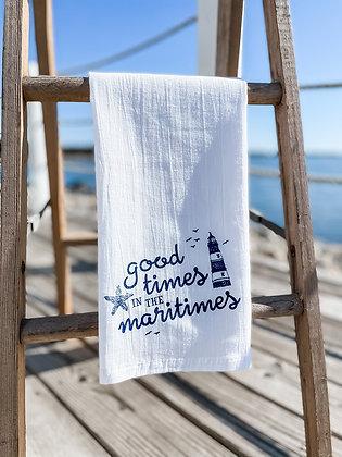 Far Far Away Shop, Good Times Tea Towel front view in navy
