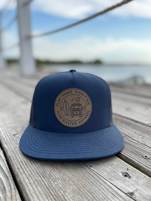 Noreaster Apparel Navy Trucker Hat front view