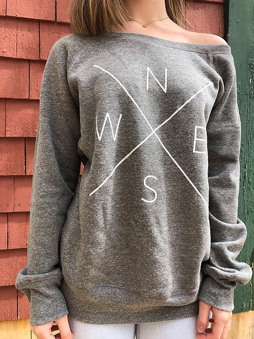 Off the shoulder sweatshirt in Heather Grey front view.