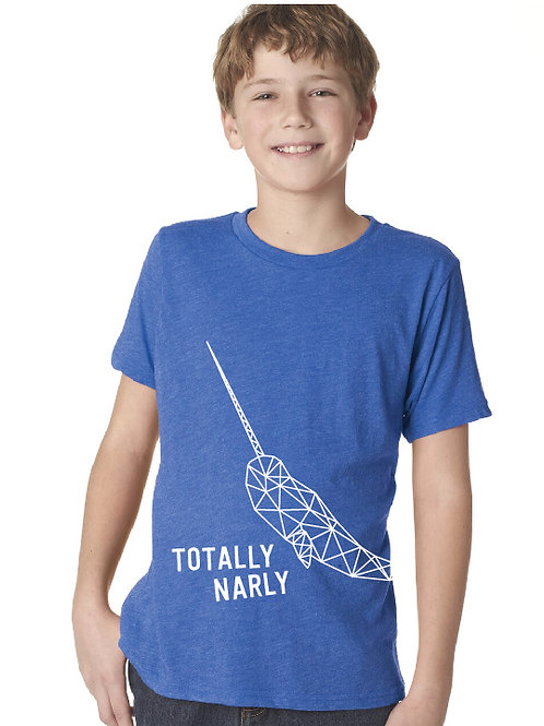 Noreaster Kids narwhal tee front view in royal blue