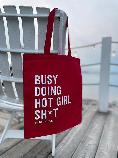 Noreaster Apparel Hot Girl Shit Reusable Tote Bag front view in red