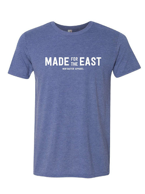Mens Made For The East Crew Neck Tee Shirt in heather blue front view