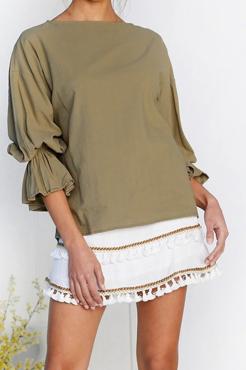 Noreaster Apparel Women's Trumpet Sleeve Loose Fit Top in green front view