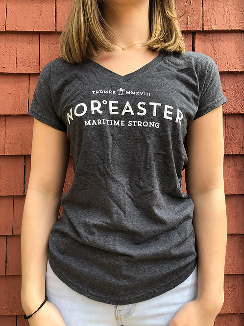 Women's v neck t shirts in heather grey front view