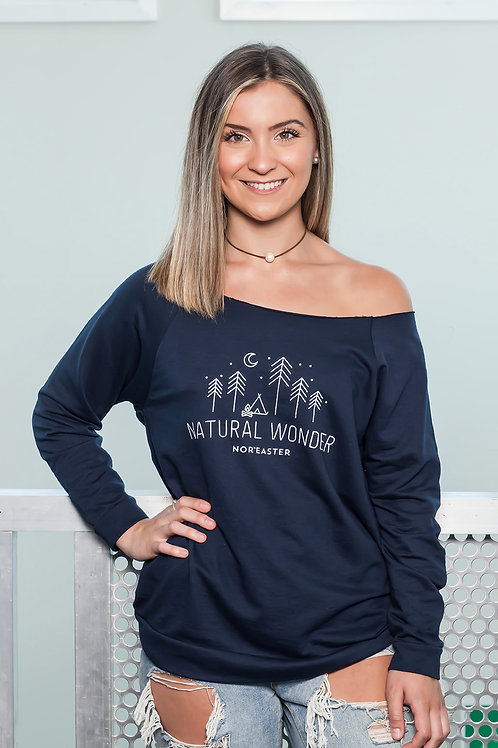 Off the shoulder sweater in Navy front view