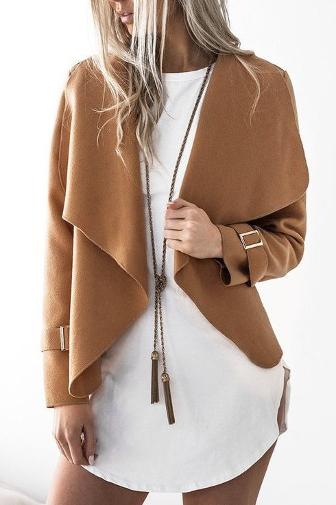 Autumn Woollen Lapel Coat in brown front view