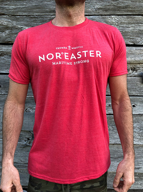 Signature crew neck tee shirt heather red front view