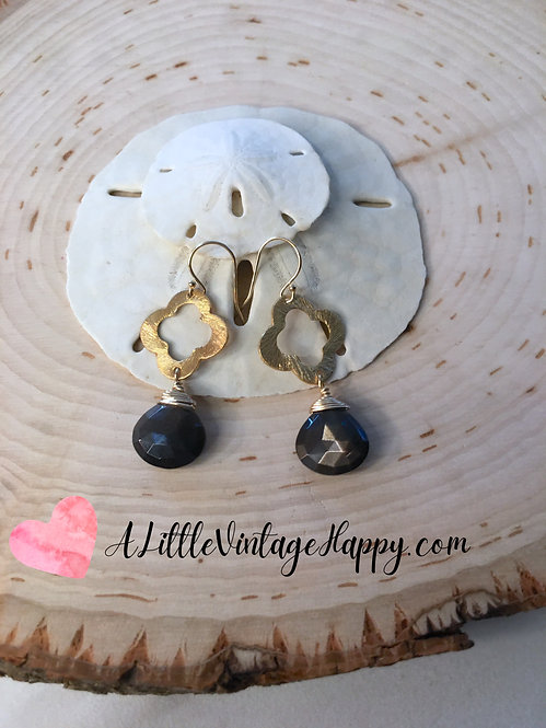 Clover Earrings | Black Moonstone