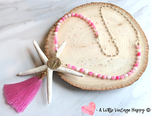 Breast Cancer Awareness Ribbon Tassel Necklace