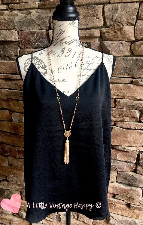 Daisy Crystal Tassel Necklace