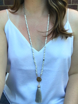 The Traveler / Howlite Tassel Necklace