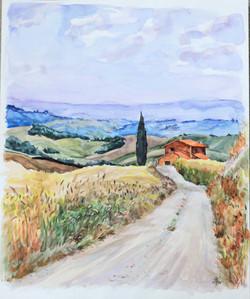 Pienza watercolor