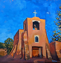 Evening at San Miguel Mission, Sante Fe.