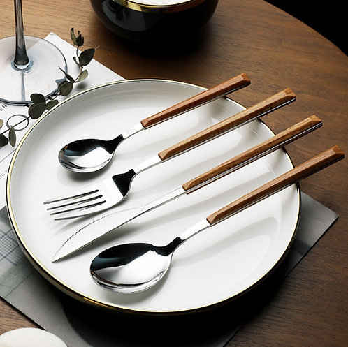 20 Pieces Stainless Steel Cutlery Wood Handle