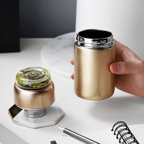 Tea Leaves and Water Separation Filter Tea-Cup & Thermos Bottle