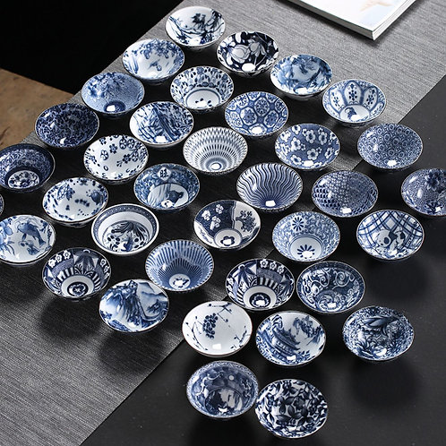 Blue and White Porcelain Tea Bowls, Chinese Traditional Porcelain Tea Set