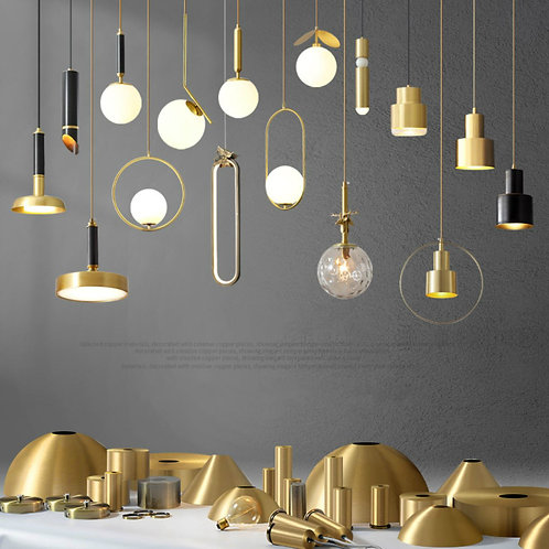 Pendant Lighting in Gold Brushed Brass Finish