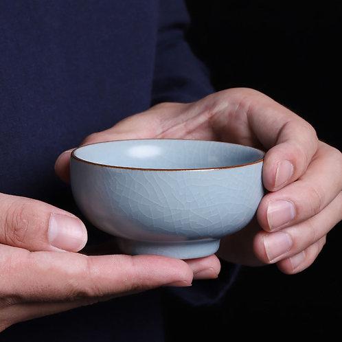 Ru Kiln Porcelain Tea Bowls, Chinese Traditional Porcelain Tea Set