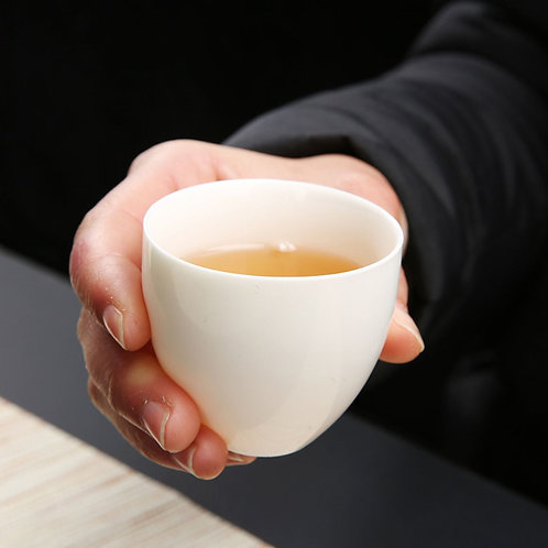 White Porcelain Ping Ming Cup, Chinese Traditional Porcelain Tea