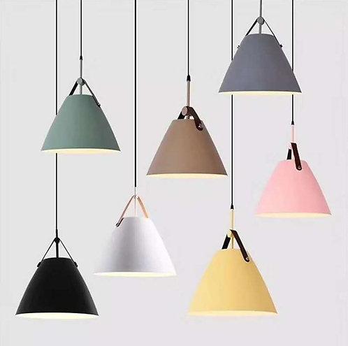 2 Pack Pendant Lamps Macaron Color Single Head Chandelier Aluminum Round