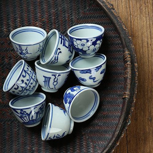 Vintage Handpainting Blue and White Porcelain Tea Set, Jingdezhen Procelain
