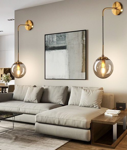 Modern Wall Mounted Sconce Light Minimalist Adjustable Brass Ball Glass
