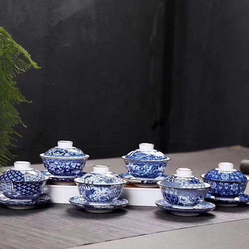 Vintage Blue & White Porcelain Gaiwan, Chinese Traditional Porcelain Tea Set