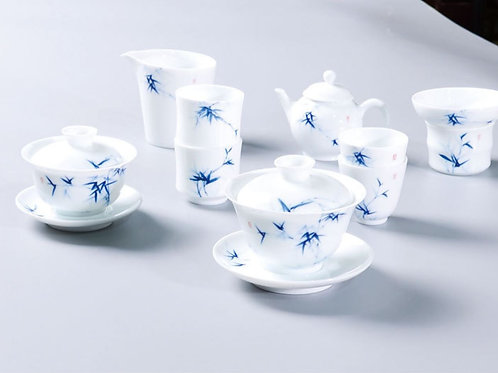 Handpainting Bamboo Patten White Porcelain Tea Set, Jingdezhen Procelain Tea Set
