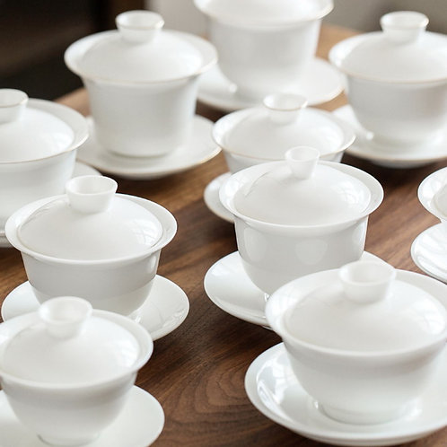 Vintage White Porcelain Gaiwan & Cup, Chinese Traditional Porcelain Tea Set