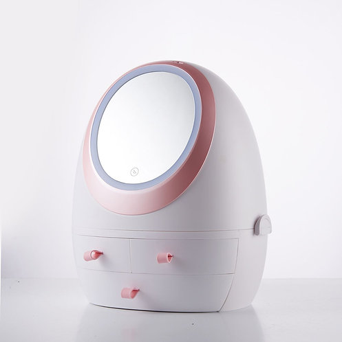 Cosmetic Storage Box With LED Light Mirror