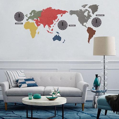World Map DIY Decorative Wall Clock