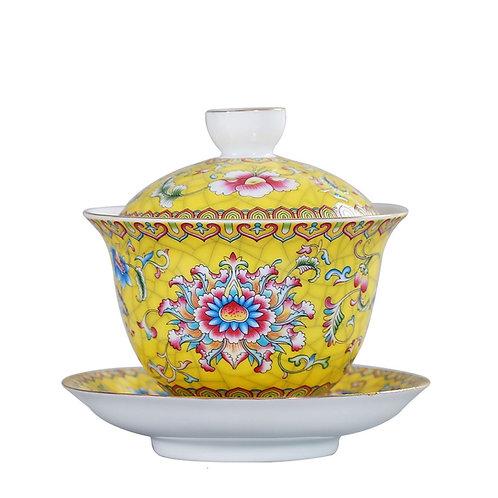 Enamel-color Porcelain Gaiwan Suite, Chinese Tea Set Wholesale