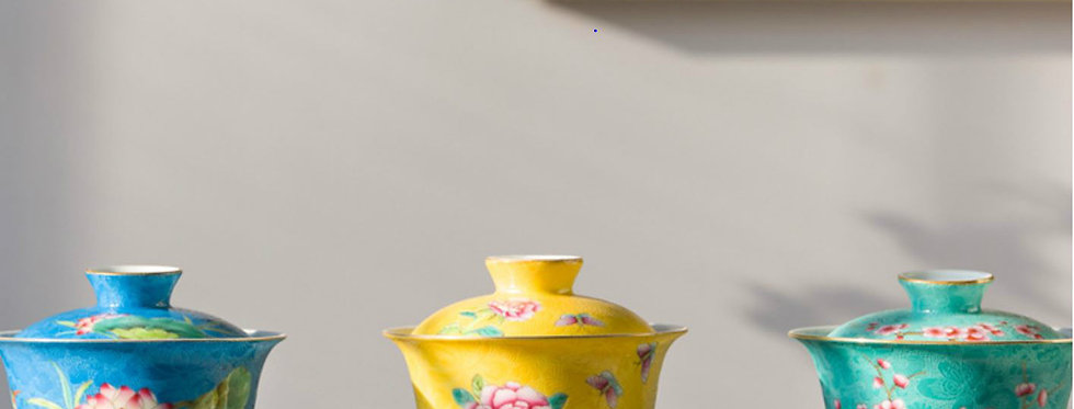 Gaiwan/Tea Bowl with Fitted Cover and Pingming Cup, Chinese traditional Tea Set