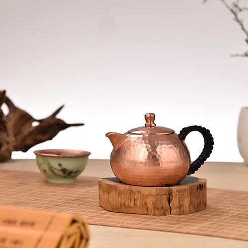 Vintage Handmade Copper Teapot,  Chinese Traditional Metal Tea Set Wholesale