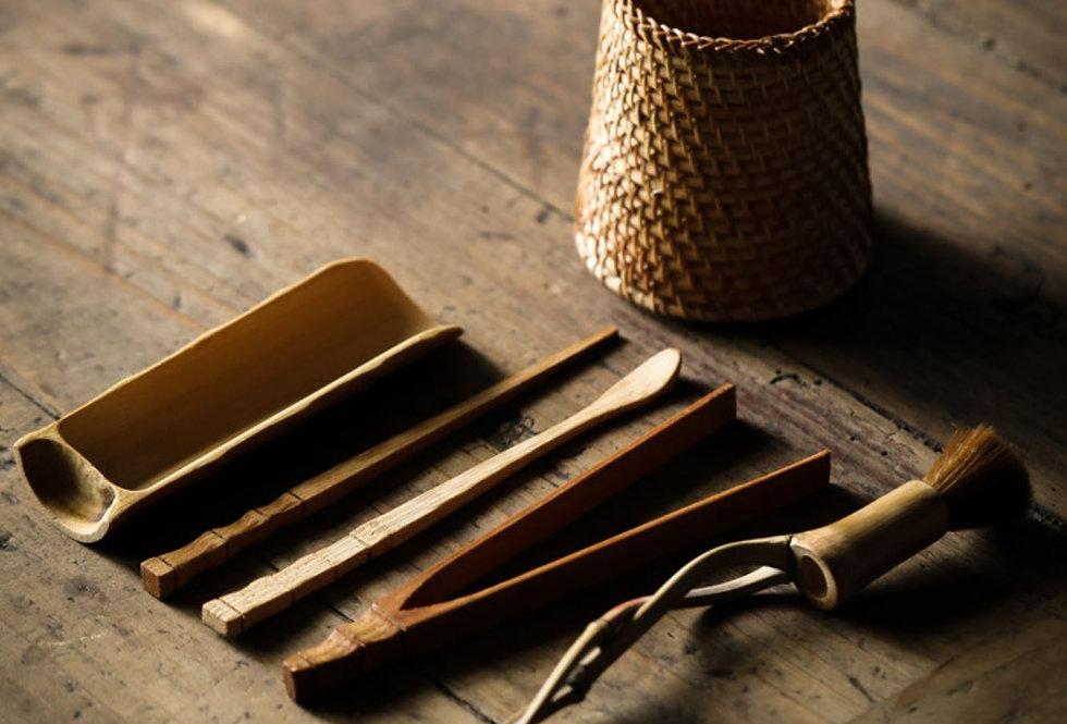 Rattan-weaved & Bamboo 6 Gentlemen , High-end Handmade Tea-set Accessory