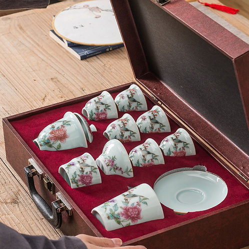 Jingdezhen Premium Procelain & Hand Painting Tea Set Suite,