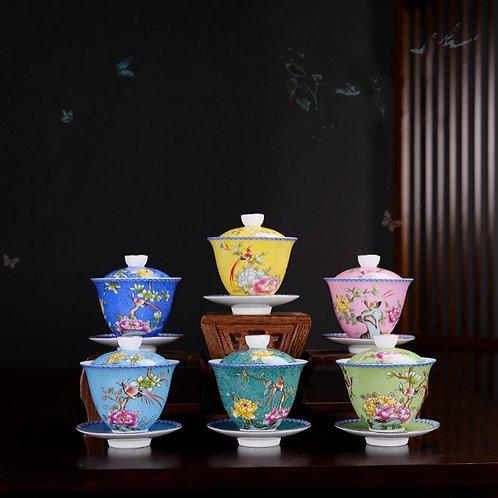 Enamel-color Porcelain Gaiwan/Tureen, Chinese Traditional Porcelain Tea Set