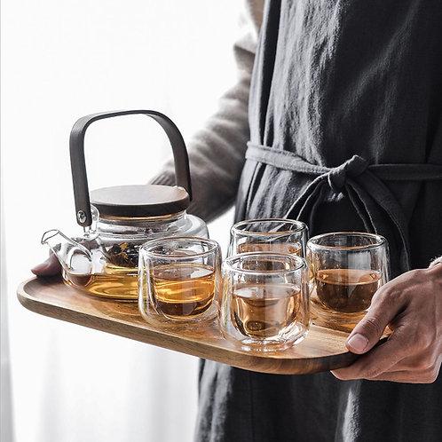 Glass Tea Set Suite, Chinese tea set suite wholesale