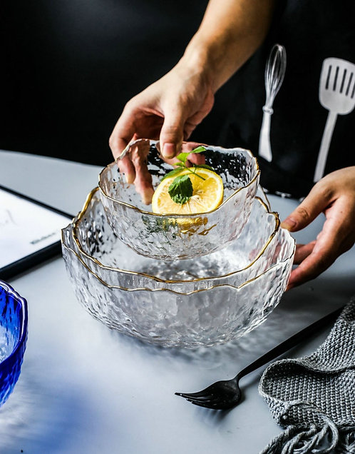 Creative Transparent Glass Salad Bowl