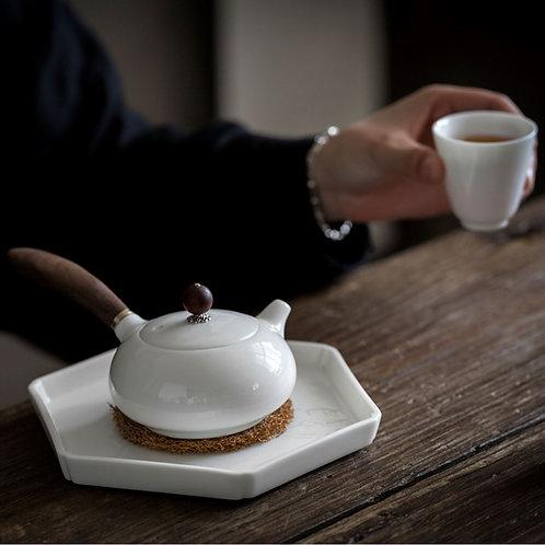 Vintage White Porcelain Gongfu Teapot, Chinese Traditional Porcelain Tea Set