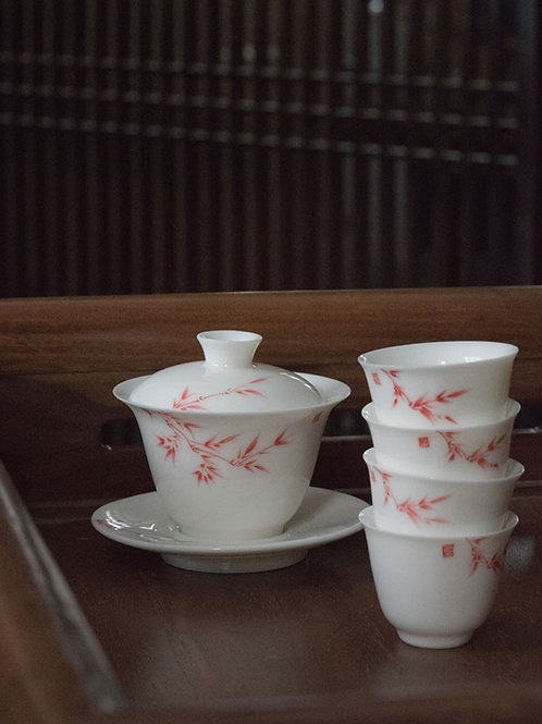 Handpainting Bamboo Patten White Porcelain Tea Set, Jingdezhen Procelain Teaset