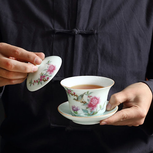 Powdered-color Porcelain Gaiwan & Cup, Chinese Tea Set Wholesale