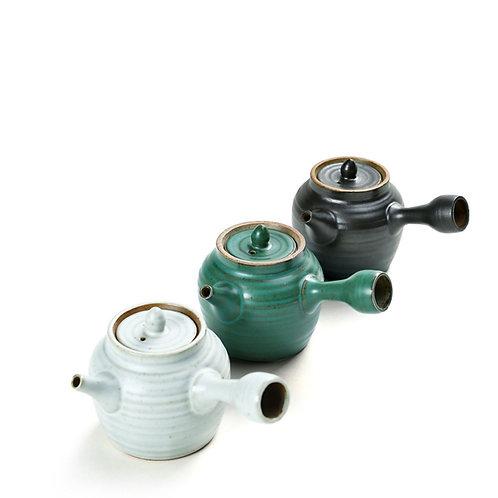 Crude Pottery Teapot and Tea Bowl,Oriental and Vintage Style Gongfu Tea Set