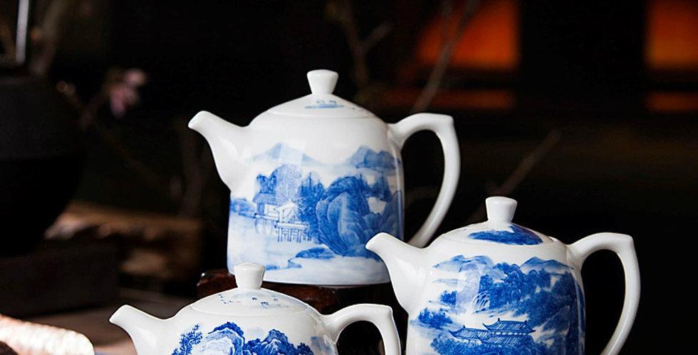 Mei Ren Jian Teapot, Handpainting Meticulous Landscape  Porcelain Teapot