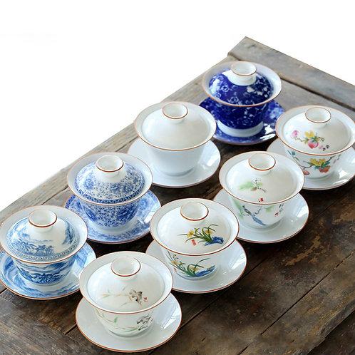Chinoiserie Gaiwan, Chinese Traditional Porcelain Tea Set